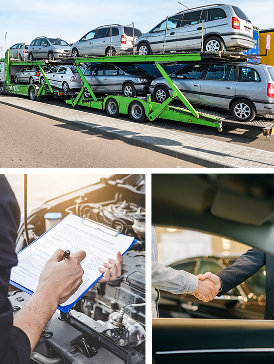 collage of scrap car process including transport inspection and deal