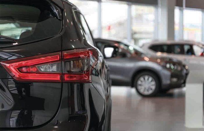 car dealership close up shot on a new car