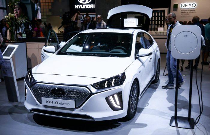 hyundai ioniq electric car on showcase