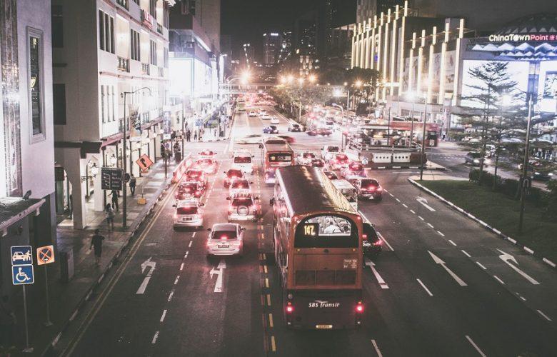 Singapore traffic at night