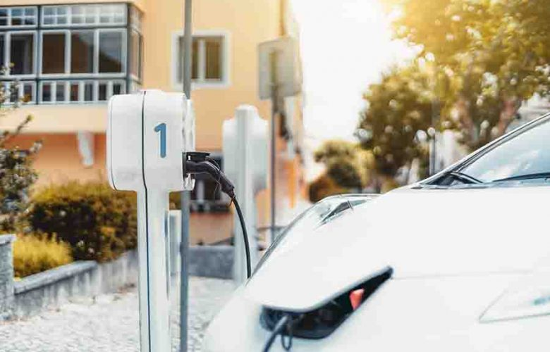 Electric Car Charging Outdoors