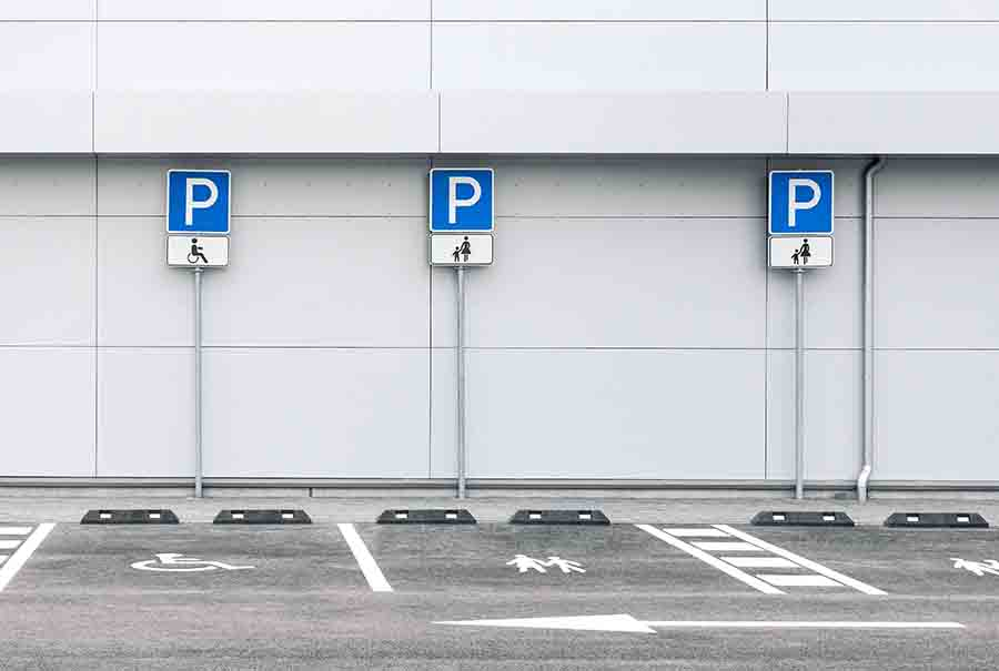 carpark with disability reserved parking lot